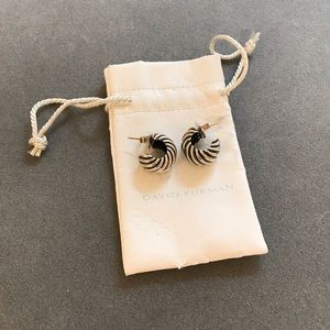 David Yurman Sterling Silver Cable Huggie Earrings
